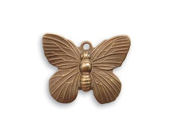 4 pieces 19x15mm  Butterfly Charm by Vintaj Natural brass item DP150