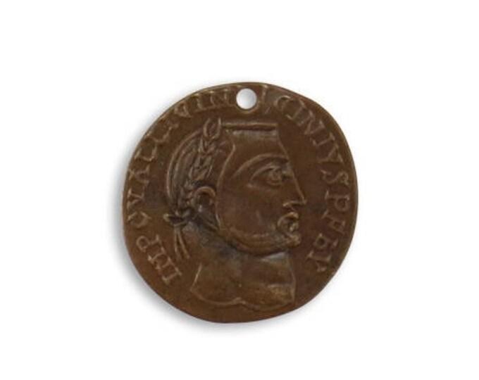 SALE: 4 pieces Roman Laurel Coin Charm, Brass, Vintaj P256 19.5mm