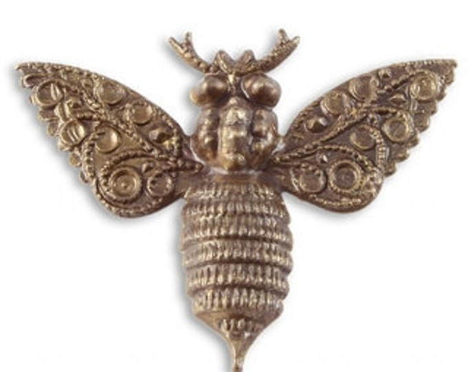 Deco Bee Pendant Layering Piece, Vintaj Natural Brass Designer Series P027