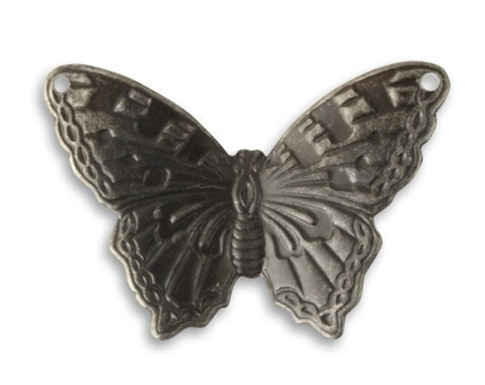 2 Pieces Summer Azure Butterfly Embellishment by Vintaj Item AP0008 Arte Metal Grey