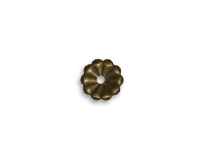 6 pieces of 9mm Daisy Washer natural brass by VINTAJ -  HW0062