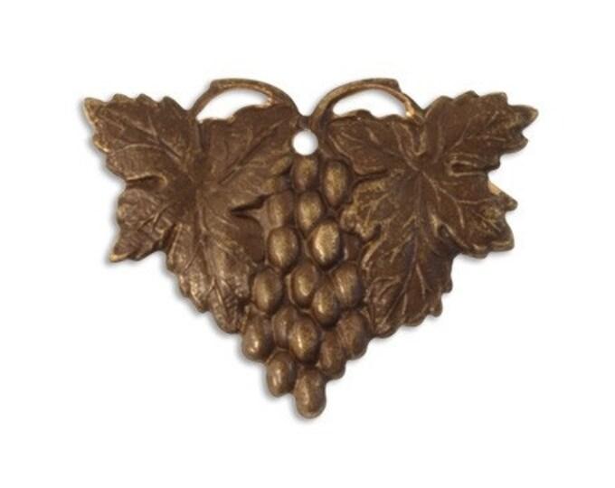 SALE: 2 pieces Harvest Grapes Antique Brass Embellishment by Vintaj (item P0013)