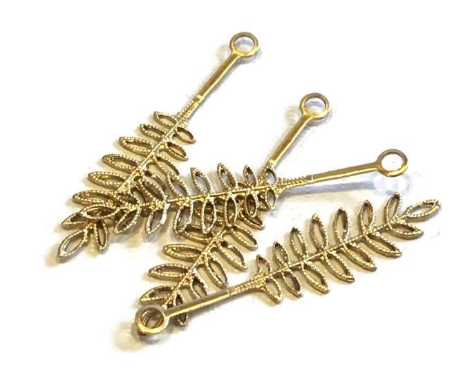 4 pieces Solid Brass Fern Frond 40x10mm Vinta FSV021