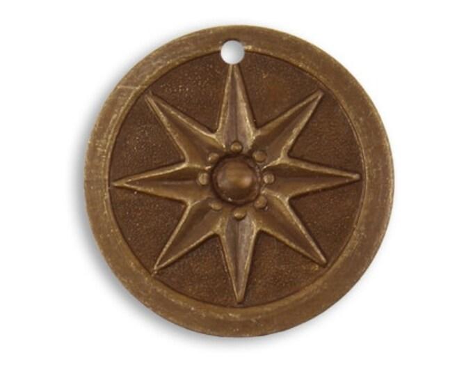 2 Pieces21.5mm Brass Compass Star pedant or drop, Vintaj Natural Brass Item DP138