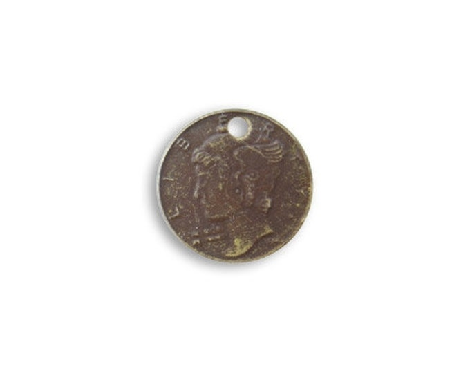 6 pieces 13mm Mercury Head Coin Charm, Brass, Vintaj P258