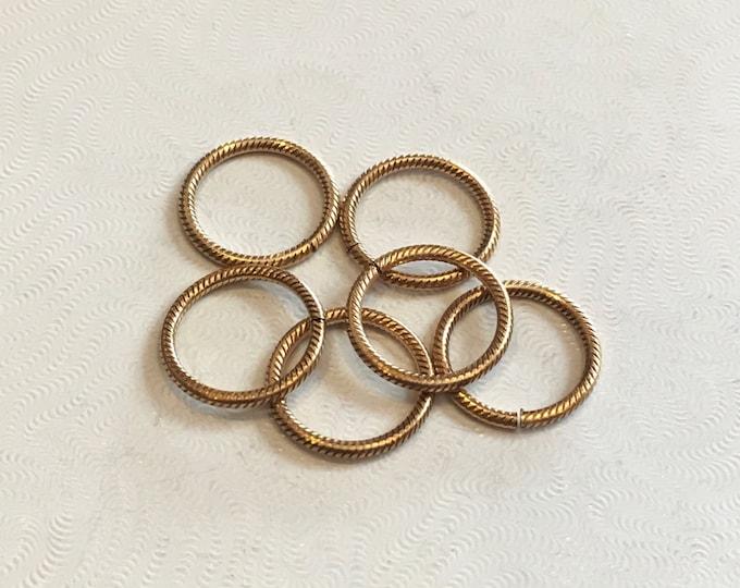 6 pieces 15.25mm Rib Cable 15 gauge Jump Ring, Polished Brass, Vintaj Vogue JRV109