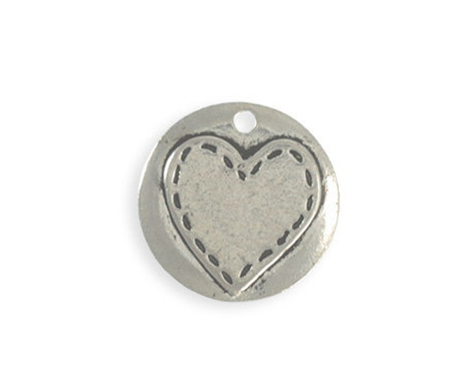 20mm Pewter Stitched Heart Blank Vintaj PT148 1 pc Artisan Pewter
