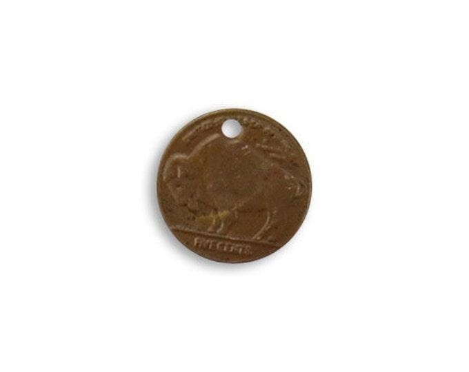 6 pieces 13mm Buffalo Coin Charm, Brass, Vintaj P253