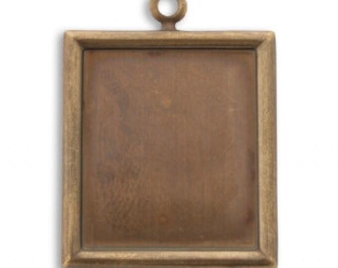 2 pieces Brass Bezel Pendant - Rectangle, 28x25mm, Vintaj Natural Brass Item P370
