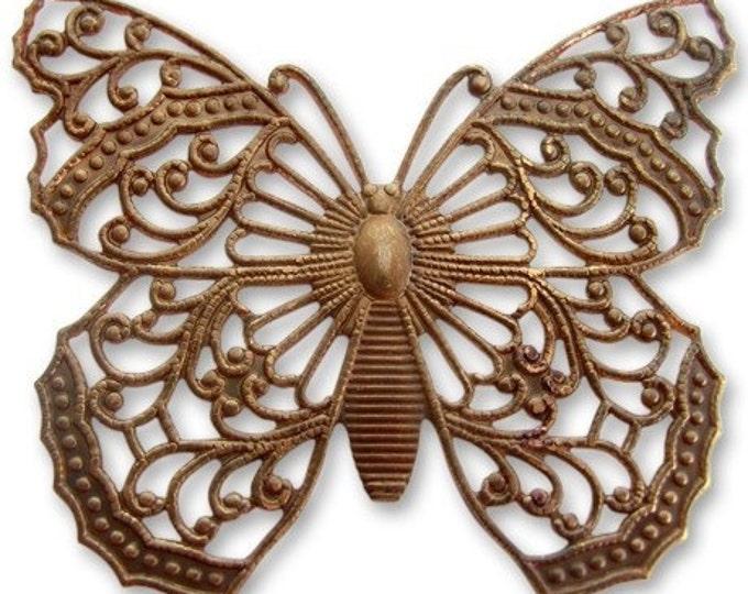 1 piece 38 x 46mm brass Filigree Butterfly by VINTAJ -  P150
