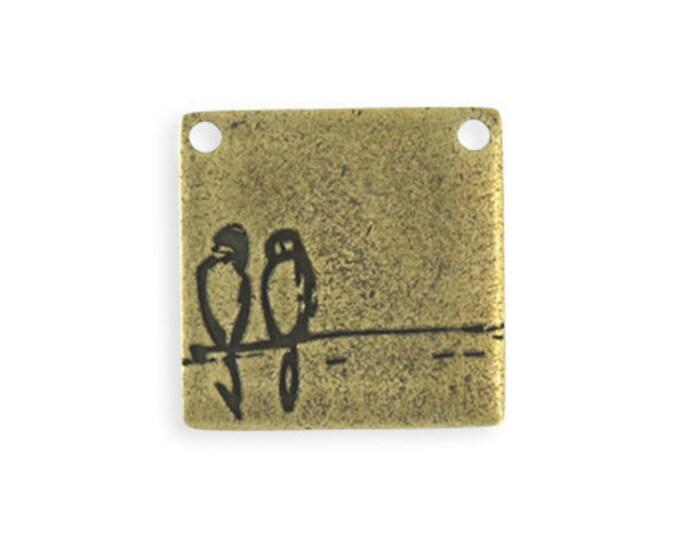1 pc Resting Birds Blank - Brass Antique Plated, 23mm Vintaj PT151-270