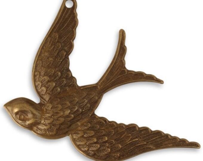 1 piece  42x31.5mm Fanciful Bird, Brass flying bird, Vintaj Natural Brass, Vintaj Item P0016