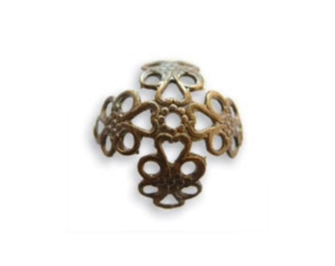 10 pieces 16mm Filigree Bead Cap - Wrap by Vintaj Natural brass item BC30