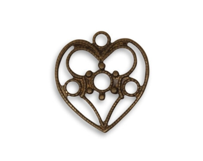 4 pieces 19x18mm Delicate Heart  Vintaj Item DP0013
