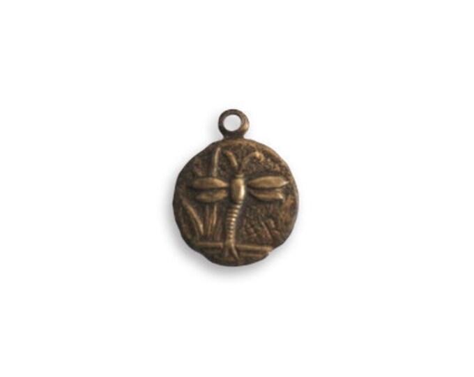 4 pieces Teensie Dragonfly  charm by Vintaj Natural brass item DP290 9.5mm round