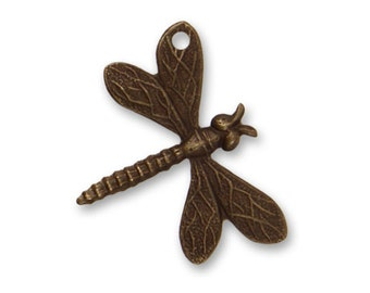2 Pieces 18x22mm Drifting Dragonfly (hole top left wing), Brass Dragonfly Charm, Vintaj Item DP216