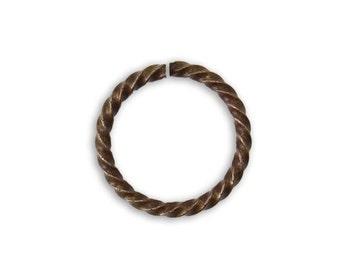 6 pieces 17mm Roped Cable 13ga Jump Rings Vintaj Natural Brass JR104
