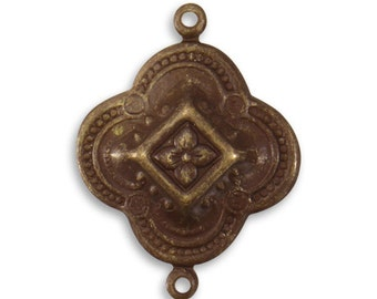2 Pieces 29x35mm Brass Bangalore Detail, Decorative Brass Connector, Vintaj Natural Brass Item C2H107
