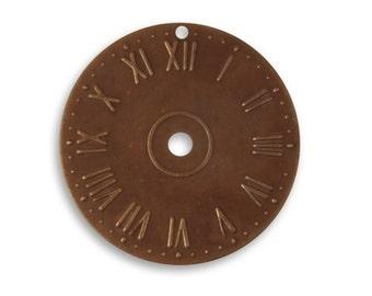 2 Pieces Brass Clock Face - 25.5mm , Vintaj Natural Brass Item P109