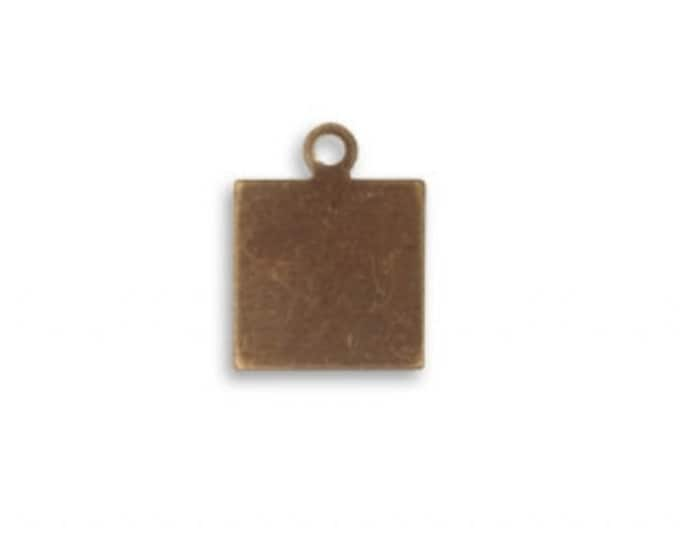 8 pieces tiny square Tag Altered Blank, Vintaj Natural Brass Item DP0002, 9mm Square blank
