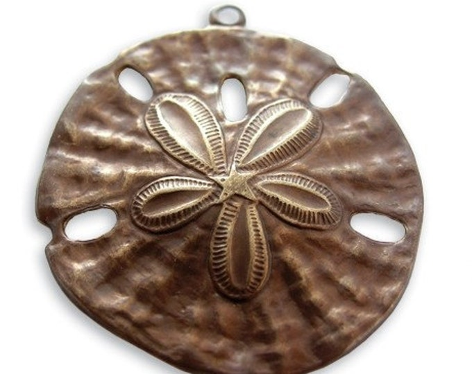 SALE: 1 piece  brass Sand Dollar Pendant by VINTAJ -  P80