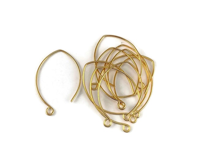 10 (5 pair) 35mm Marquise Ear Wires - 10K Gold Plated Vintaj Marquis Ear Wires ER001-340