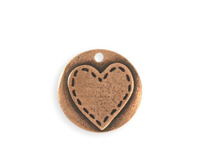 1 piece 20mm Stitched Heart Blank - Copper Antique Plated Vintaj PT148-170