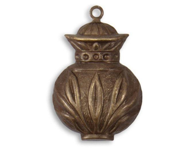 SALE: 2 Pieces 27x18mm Ancient Urn Brass Charm or Drop, Vintaj Brass item DP176