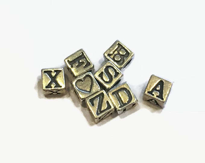 4.5mm Sterling Letter Beads - Choose Letter - Sterling Silver Square Letter Beads