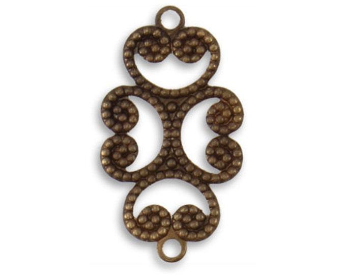 4 Pieces Brass Etruscan Swirl 24.5x13.5mm, Vintaj Natural Brass Item C2H102