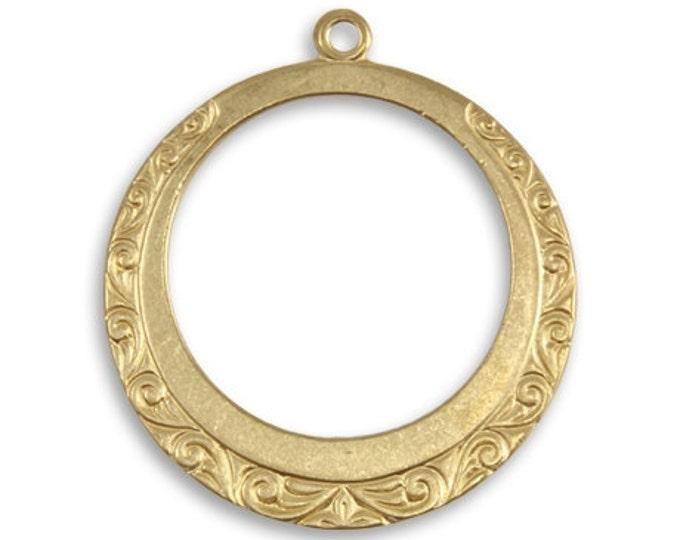 2 Engraved Hoops Polished Brass, Vintaj Vogue PV053