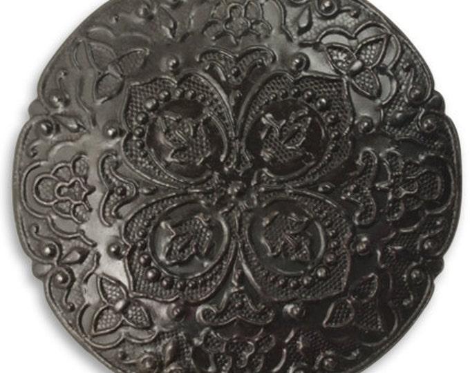SALE: 2 Pieces 42mm Rhapsody Novella Arte Metal Pendant by Vintaj - Gunmetal Grey Item AP0014