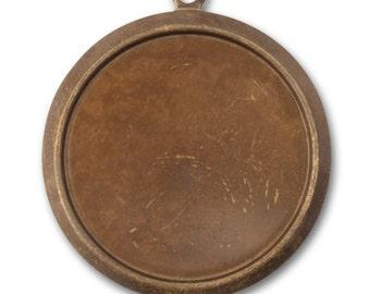 2 Pieces Brass Classic Circle Bezel Pendant, Vintaj Natural Brass Item P0001