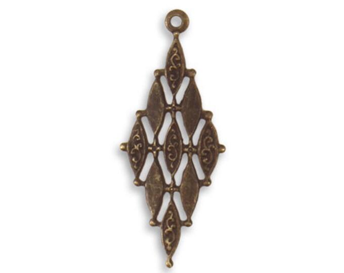 4 Pieces 30.5x12.5mm Diamond Mosaic Brass drop or pendant, Vintaj Natural Brass Item DP201