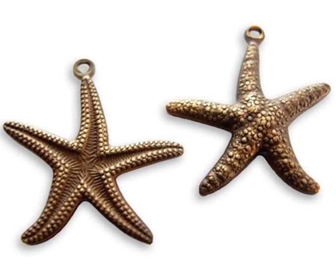 SALE: 2 pieces 23x20mm Star Fish Charm by Vintaj Natural brass item DP90