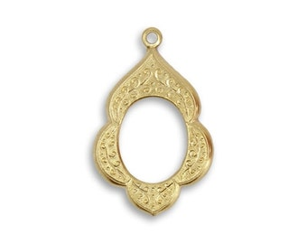 4 pieces Scalloped Brass Frame Pendant or Charm Vintaj Vogue 23x15mm Vintaj DPV035