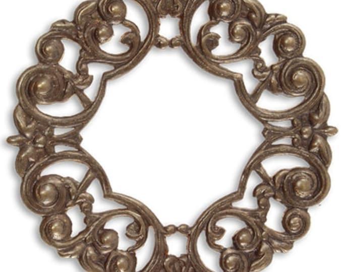 45mm Scrolled Layering Window, Natural Brass, Vintaj item F021
