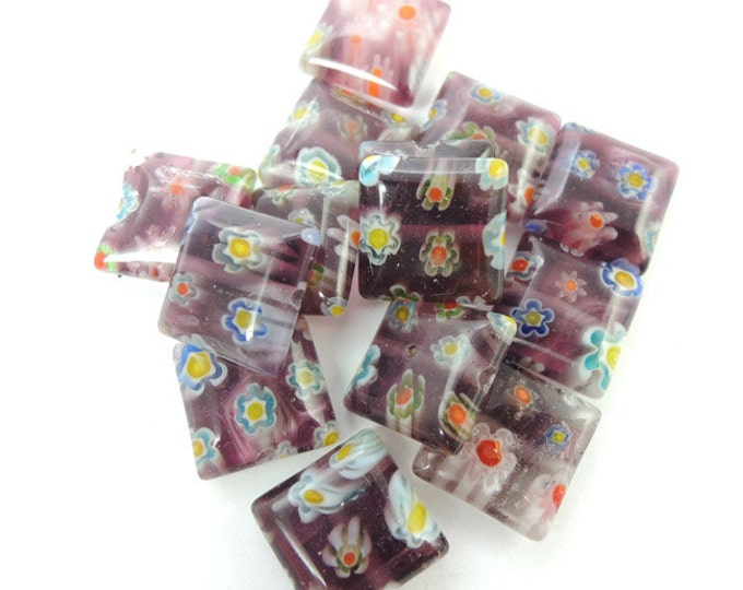 14 Purple Square Millefiori Beads, 10mm glass puff beads