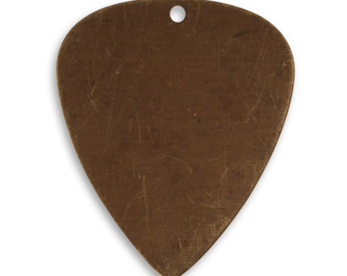 4 pieces  31x26.5mm Guitar Pick Blank, Vintaj Natural Brass, Vintaj P0057, Jewelry Blanks. Guitar Pick Stamping Blank
