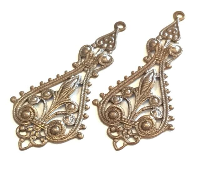 2 pieces Etruscan Drop Brass Filigree 55.5x25mm Vintaj Brass F031