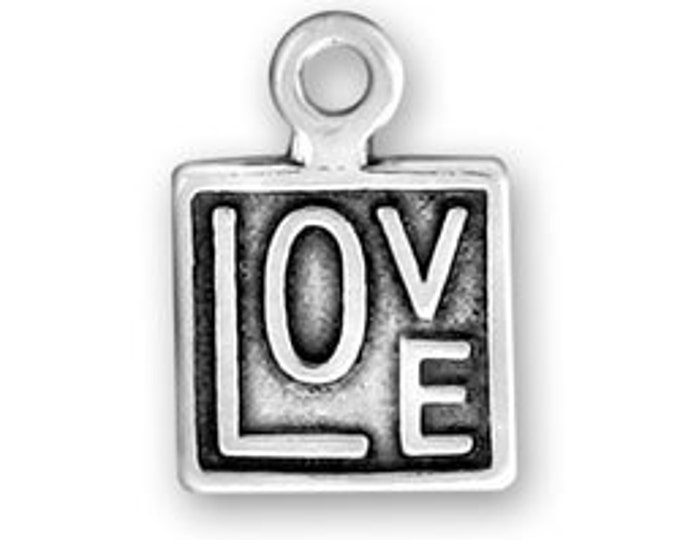 Sterling Silver LOVE square charm