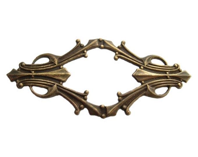 1 piece 62x28mm Deco Window Filigree, Natural Brass Filigree wrap, Vintaj Item F260