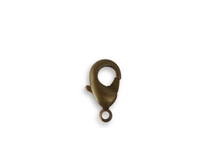 5 pieces 12mm Classic Lobster Clasp, Natural Brass, Vintaj CL0003