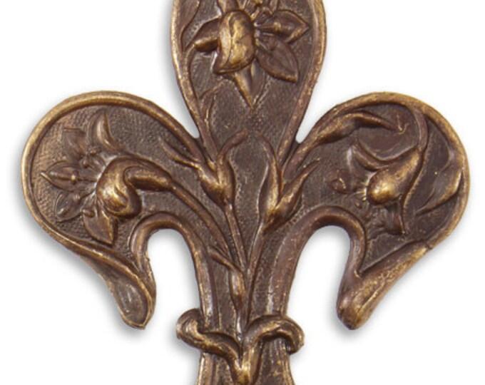 1 Piece 54x36.5mm Daffodil Fleur Brass Pendant,Vintaj Brass Item P205