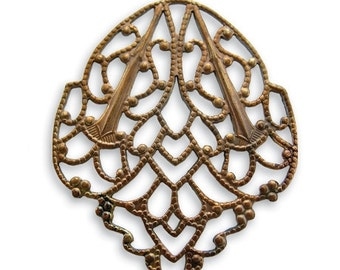 SALE: 2 pieces Brass Delicate Crest Filigree - wrap 33x28mm Vintaj Natural Brass Item F170