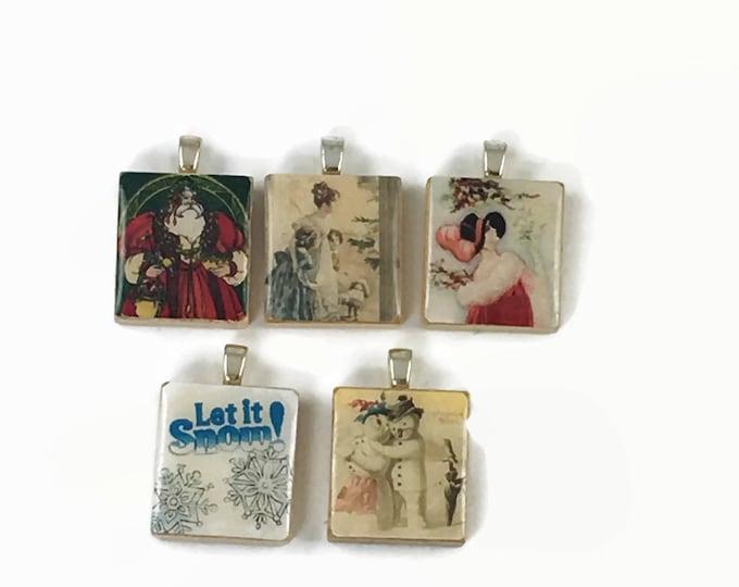 Set of 5 Christmas Scrabble Tile Pendants Set #32