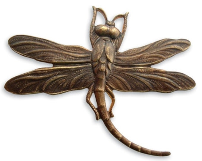 1 piece of 50x39mm Art Deco Dragonfly - Antiqued brass by Vintaj Item P160