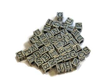 5.5mm Sterling Letter Beads Choose Letter Sterling Silver Square Letter Beads