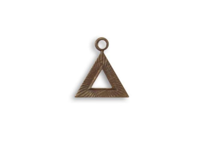 6 pieces Pyramid Charm, Brass Vintaj DP209