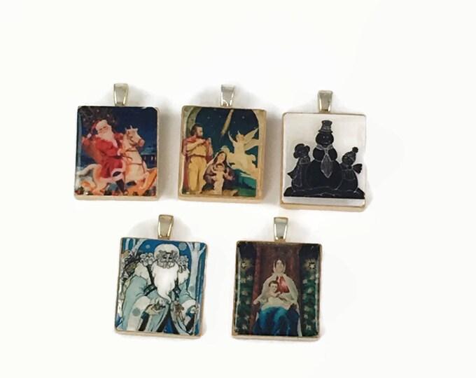Set of 5 Christmas Scrabble Tile Pendants Set #22